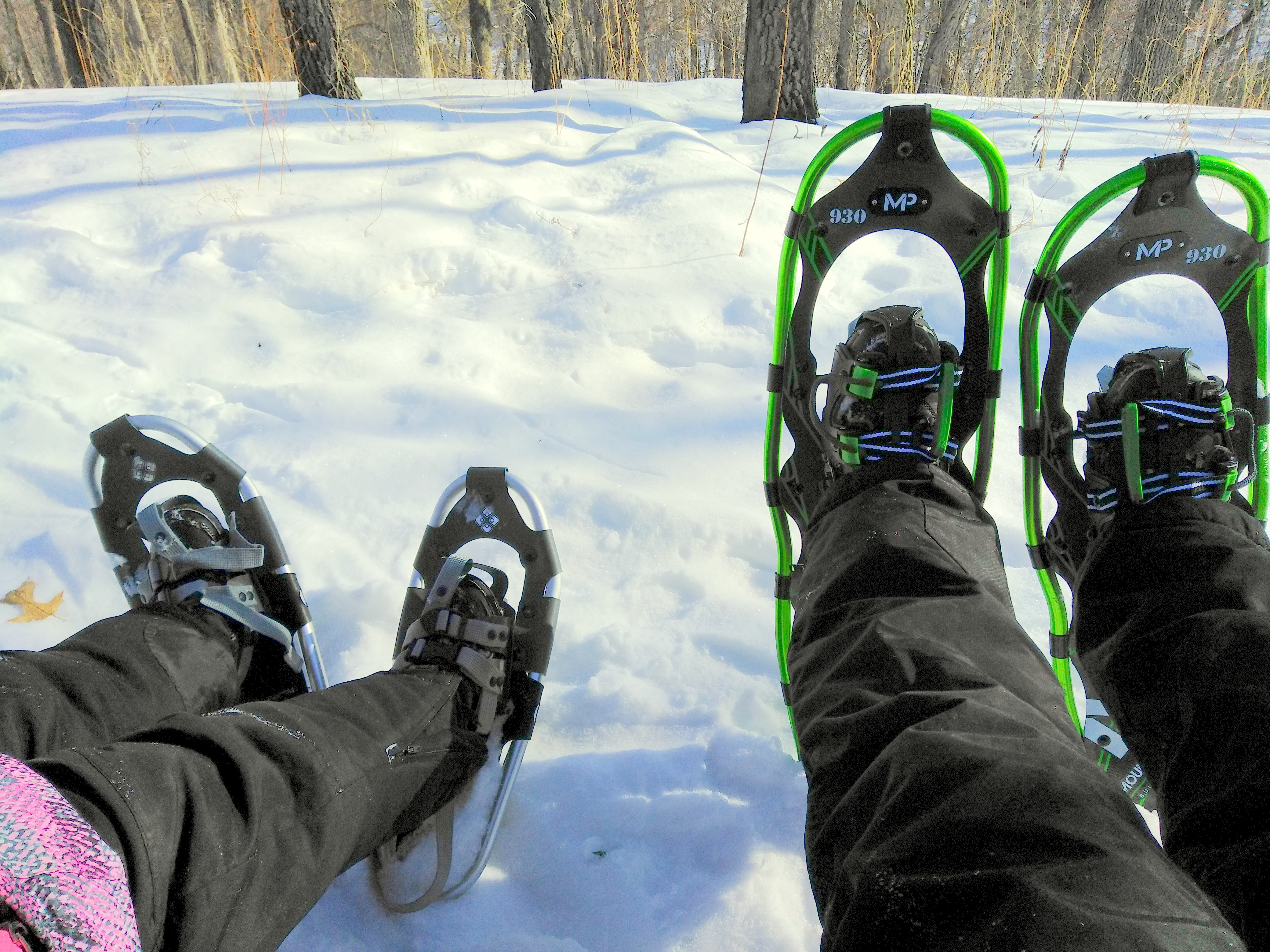 kicked up laid back snowshoes